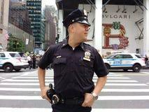 Politieman en NYPD-Voertuigen, NYC, NY, de V.S. Stock Fotografie