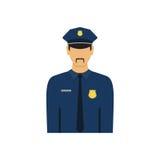 Politieman vectorillustratie, ontwerp i van het politieagentkarakter Stock Foto