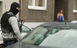 Politiemannen DÃ ¼ sseldorf Duitsland Stock Foto's