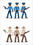 Politiemannen en sheriffs Stock Afbeeldingen