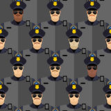 Politiemannen naadloos patroon de wacht van de politietribune royalty-vrije illustratie