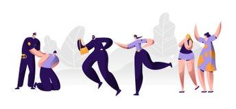 Politiemannen op het werk Politieagent die Handcuffs op Overtrederhanden zetten, de De achterstand inlopende Dief van het Vrouwen royalty-vrije illustratie