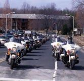 Politiemotorfiets in een begrafenis royalty-vrije stock fotografie