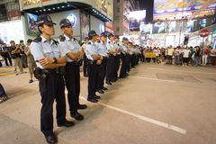 Politierij, een straat het blokkeren demonstratie in 2014, Mong Kok, Stock Fotografie