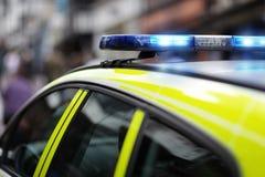 Politiesirene bij ongeval of misdaadscène stock foto