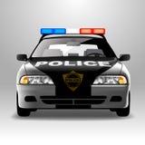 Politiewagen in frontale mening Royalty-vrije Stock Foto's