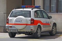 Politiewagen in het kanton van Graubunden, Zwitserland Stock Foto