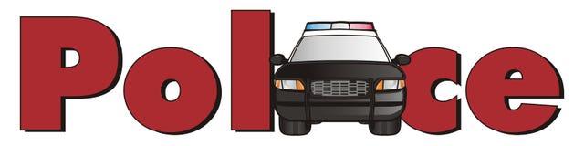 Politiewagen met brieven Stock Fotografie