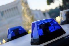 Politiewagen, sirene, licht, straat stock foto