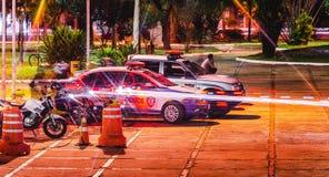 Politiewagens van Guarda Gemeentelijk bij en gebeurtenis in Campo Grande lidstaten, Stock Fotografie