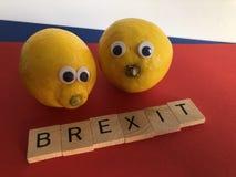 Politik: Brexit och två citroner och att symbolisera bitterhet och besvikelse arkivfoto