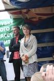 Politik Evgeniya Chirikova und Journalist Artemy Troitsky an der Sammlung zum Schutze von Khimki-Wald Stockfoto