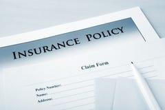 politik för försäkring för reklamationsdatalista Arkivfoton