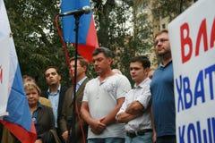 Politik Nemtsov, Milov, Yashin, Belyh, Ryschkow, Dichter Chudakova an einer Sammlung auf dem Jahrestag der 1991 Ereignisse Stockfoto