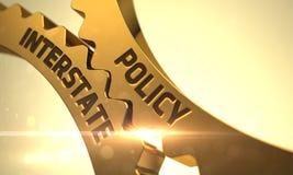 Politik som är mellanstatlig på guld- kugghjul 3d Royaltyfri Fotografi