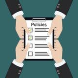 Politik verschalt Unternehmenspolitikcheck-liste lizenzfreie abbildung