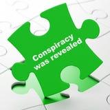 Politikbegrepp: Komplott avslöjdes på pusselbakgrund vektor illustrationer