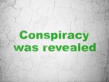 Politikbegrepp: Komplott avslöjdes på väggbakgrund royaltyfri illustrationer