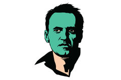 Politiker Alexei Navalny med en grön framsida Royaltyfria Bilder