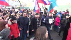 Politiker Alexei Navalny på mars i minne av Boris Nemtso arkivfilmer
