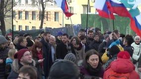 Politiker Alexei Navalny på mars i minne av Boris Nemtso lager videofilmer