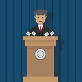 Politiker, der auf Podium, Vektorillustration spricht Stockbild
