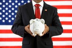 Politiker: Einsparungs-Geld in einer Bank während der Zukunft stockfoto