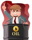 Politiker sprechen vom Ölbarrel Lizenzfreies Stockfoto
