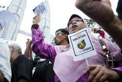 Politiker-Verbindung eine Demonstration in Kuala Lumpur Stockfotografie