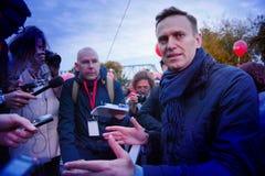 Politikern Alexei Navalny talar på en opposition samlar fotografering för bildbyråer