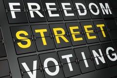 Politikkonzept: Straßen-Störungen auf Flughafenbretthintergrund Lizenzfreie Stockbilder