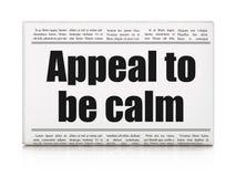 Politikkonzept: Zeitungsschlagzeile Berufung, zum ruhig zu sein vektor abbildung