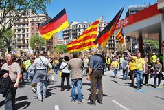 Politikmarsch Llibertat Presos in Barcelona lizenzfreie stockfotos