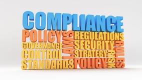 Politique, lois et conformité illustration stock
