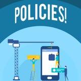 Politiques d'écriture des textes d'écriture Normes de règlements de règles de société commerciale ou de gouvernement de significa illustration de vecteur