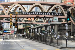 Politisch besetzen Sie zentrale Bewegungsblockstraßen in Hong Kong Stockbilder