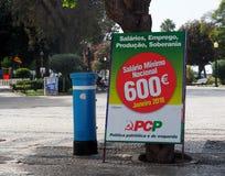 Politisch unterzeichnen Sie herein Faro Portugal stockfotografie