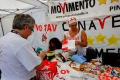 Politische Demonstration in Rom Stockbild