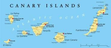 Kanaren Karte Europa.Politische Karte Der Kanarischen Inseln Vektor Abbildung