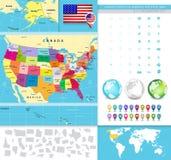 Politische Karte der USA mit ihr ist Zustände Lizenzfreie Stockfotos
