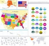 Politische Karte der USA mit ihr ist Zustände und flacher Ikonen-Satz Lizenzfreie Stockbilder