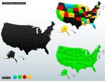 Politische Karte der Vereinigten Staaten von Amerika stock abbildung