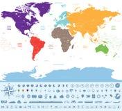 Politische Karte der Welt gefärbt durch Kontinente mit vielen Reiseikonen und -material lizenzfreie abbildung