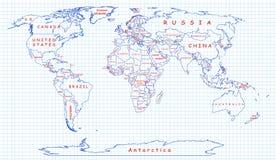 Politische Karte der Welt gezeichnet mit blauem Stift Lizenzfreie Stockbilder