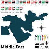 Politische Karte des Mittlere Ostens Lizenzfreies Stockfoto