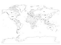 Politische Karte des Vektors der Welt Schwarzer Entwurf auf weißem Hintergrund mit Ländernameaufklebern Stockbilder