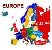 Politische Karte Europas Lizenzfreie Stockfotos