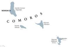 Politische Karte Komoren und Mayotten lizenzfreie abbildung