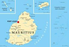 Politische Karte Mauritius Lizenzfreie Stockfotos