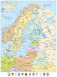 Politische Karte Nordeuropas und flaches Pin Icons Lizenzfreie Stockfotos